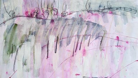 """""""rosa Landschaft mit Weiden"""""""