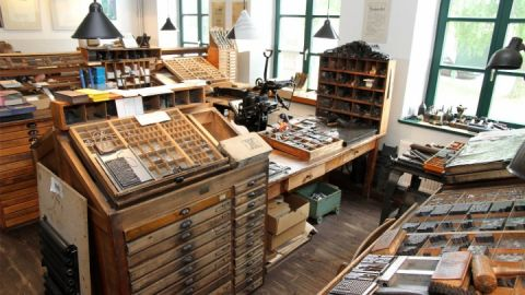 Blick in die Druckwerkstatt des Buchdruckmuseums Krakow am See