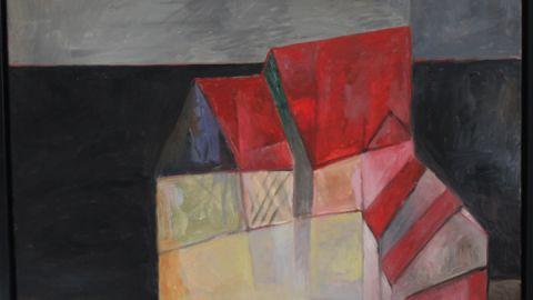 """Joachim Lautenschläger nennt sein Bild """"Hof vor schwarzem Acker"""". Markant hebt sich das Rot der Dächer von dem schwarzerdigen Feld ab."""