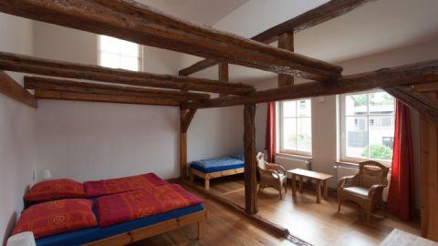 Das Schlafzimmer in der großen Ferienwohnung