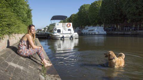 Hund im kühlen Wasser - Le Boat Hausboote